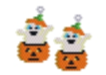 Pumpkin and Ghost Earring