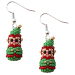 Mini 3D Beaded Christmas Elf Earrings Pattern