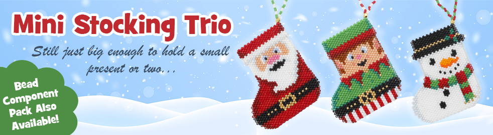 ThreadABead Mini Trio of Christmas Beadwork Stockings Bead Pattern